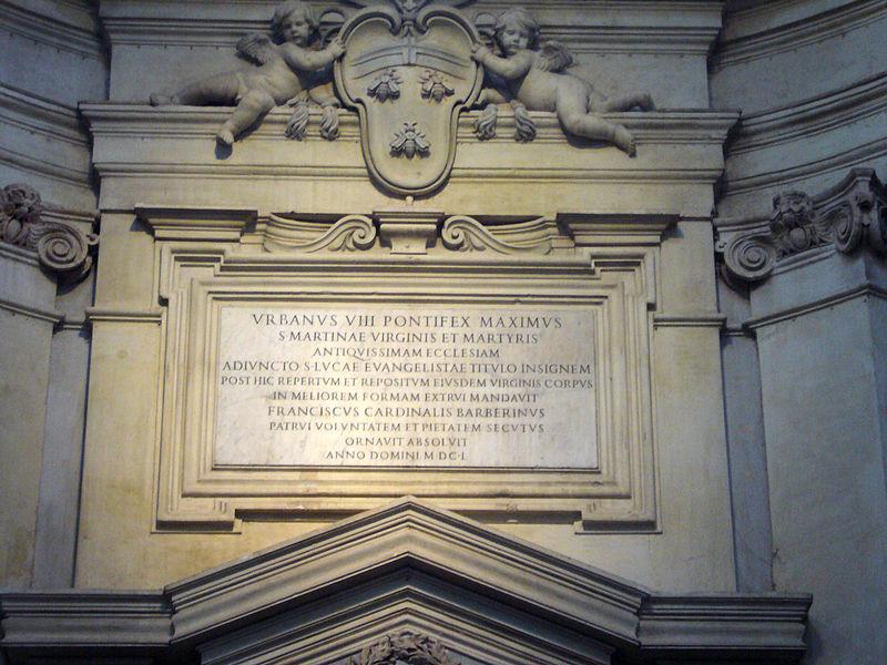 Fil: Ss Luca e Martina - controfacciata 1650 epigrafe Barberini Urbano VIII e Francesco 1250597.jpg