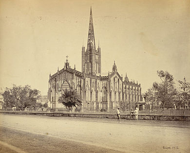 St. Paul's Cathedral was built in 1847 and served as the chair of the Bishop of Calcutta, who served as the metropolitan of the Church of India, Burma and Ceylon. St. Paul's Cathedral - Calcutta (Kolkata) - 1865.jpg