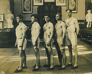 """Jack Schneider - St. Louis U's 1906–07 champion relay team (left to right): Clarence """"Pike"""" Kenney, Martin McMorrow, Bill Clancy, Robinson and Schneider"""