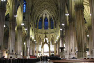 The nave of the St Patrick's cathedral in New York City
