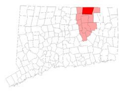 Location in Tolland County, کنیکٹیکٹ