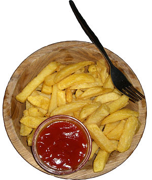 Ketchup as a vegetable - Ketchup alongside French fried potatoes