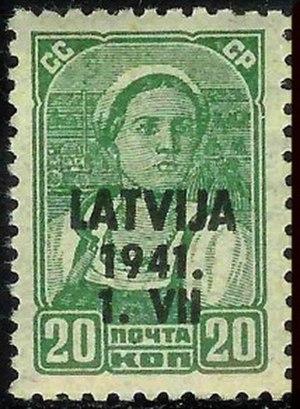 Postage stamps and postal history of Latvia - German occupation overprint for Latvia, 1941