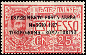 Airmail stamp - First official airmail stamp, issued by Poste italiane in May 1917