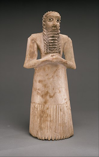 Tell Asmar Hoard - Sumerian male worshiper, Alabaster with shell eyes. One of the twelve statues in the hoard.