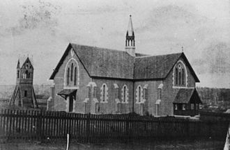 History of Toowoomba, Queensland - St. James Church of England during construction in 1869