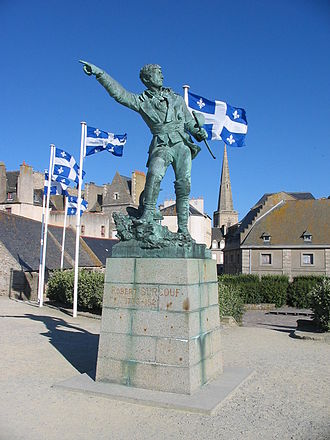 French corsairs - Statue of the corsair Robert Surcouf, in Saint-Malo, Brittany
