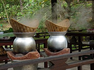 Steaming - Traditional rice steamers in Laos