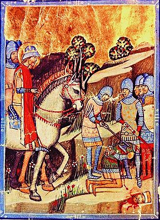 Stephen I of Hungary - Koppány's execution after his defeat by Stephen, depicted in the Chronicon Pictum.