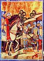 Stephen I executing the rebel Koppány (Chronicon Pictum 038).jpg