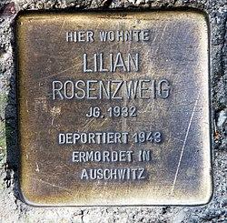 Photo of Lilian Rosenzweig brass plaque