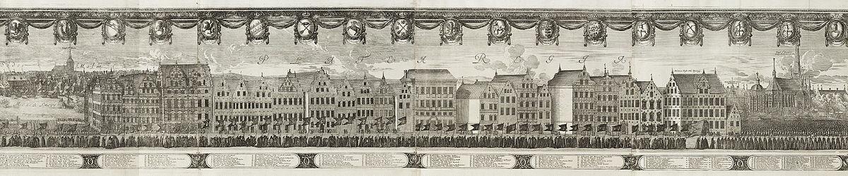 Det store Nygatans bebyggelse mod vest, kobberstik af Jean Lepautre efter en tegning af Erik Dahlbergh fra Karl X Gustavs begravelsestog i Stockholm 1660.
