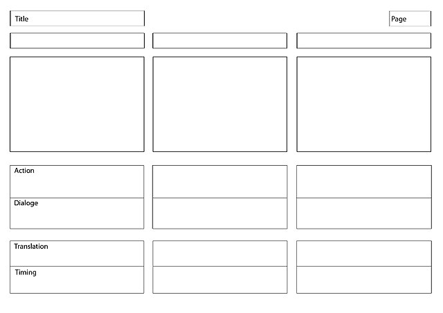 An image of a three-panel storyboarding template