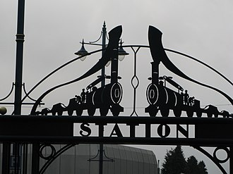 Foster, Rastrick and Company - Foster, Rastrick and Company's locomotives commemorated in a sculpture above the subway leading to Stourbridge Town Station