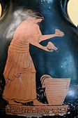 Photograph of a red-figure vase showing a woman selling food