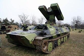 9K35 Strela-10 - 9K35 transporter erector launcher and radar (TELAR)