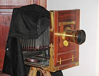 19th century studio camera, with bellows for focusing.