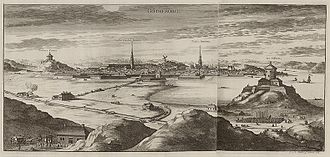 Gothenburg Cathedral - The first cathedral is depicted on the left side of this image from Suecia Antiqua et Hodierna, which also shows the city's defensive fortifications. Behind the Skansen Lion bastion to the right is the marsh of Gullbergsvass, now the site of Gothenburg Central Station.
