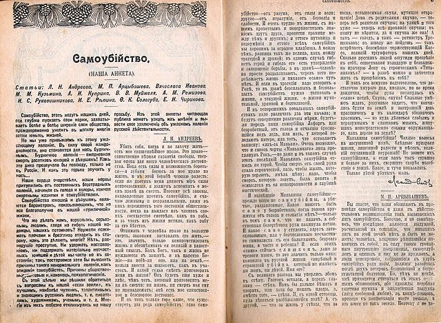 «Самоубийство». Анкета писателя в журнале «Новое слово», 1912, июнь