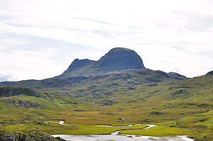 Sutherland -  Suilven from the Glencanisp Lodge path