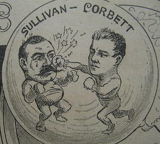 John L. Sullivan - Corbett licks Sullivan.