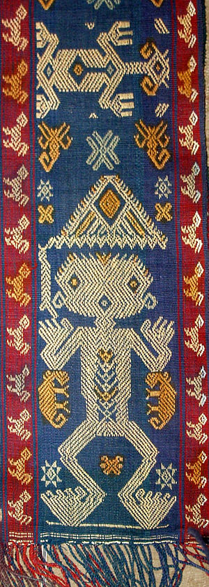 Supplementary weaving - Front view of a detail from a textile from Sumba depicting an ancestor figure (Marapu) using a supplementary of the warp.
