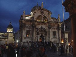 The church of St Vlaho (St Blasius) in Dubrovnik by night