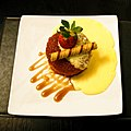 Syrup sponge pudding with custard at the White Hart Inn, Moreton, Essex, England.jpg