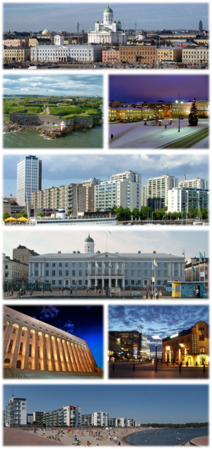 From top-left, clockwise: Helsinki Cathedral, Suomenlinna, Senate Square, Merihaka, City Hall, Parliament House, surroundings of the Central railway station, Aurinkolahti beach