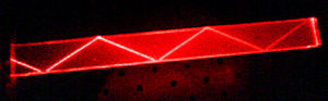 Total internal reflection - Total internal reflection of a laser beam in a block of acrylic