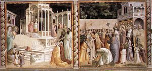 Baroncelli Chapel - Presentation of the Virgin at the Temple and Presentation of Jesus at the Temple by Taddeo Gaddi.
