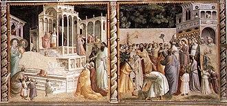 Baroncelli Chapel - Presentation of the Virgin at the Temple and Presentation of Jesus at the Temple by Taddeo Gaddi.