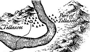 """Tallassee (Cherokee town) - Tallassee on Henry Timberlake's 1762 """"Draught of the Cherokee Country"""""""