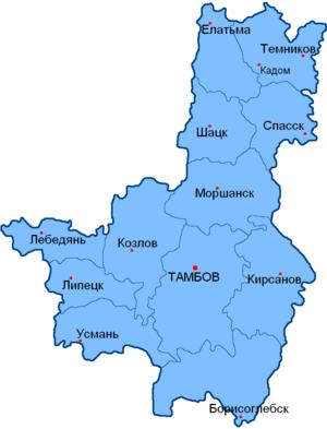 Тамбовская губерния на карте