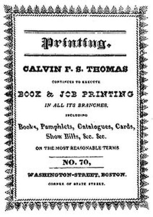Tamerlane and Other Poems - Back cover with an advertisement for printer Calvin F. S. Thomas