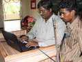 Tamil Wikipedia and Tamil Computing Workshop, Salem 2012 -Prof. Thamizhpparithi felicitating users6.JPG