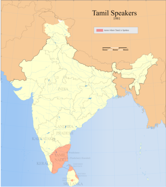 Tamil nationalism - Distribution of Tamil speakers in South India and Sri Lanka (1961).