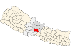 Tanahu District i Gandaki Zone (grå) i Western Development Region (grå + lysegrå)