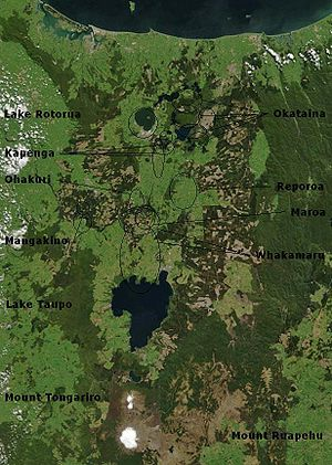 Taupo Volcanic Zone - Volcano and lake/caldera locations in the Taupo Volcanic Zone. The distance between the town of Rotorua and the town of Taupo is 80 km. (White Island is not shown.)
