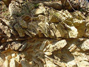 Opus spicatum - Wall in opus spicatum.