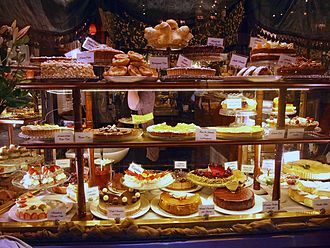 Block Arcade, Melbourne - Storefront window of The Hopetoun tea house displaying cakes and pastries.