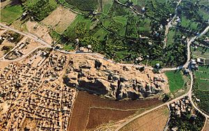 An aerial view of Jericho showing the ruins of...