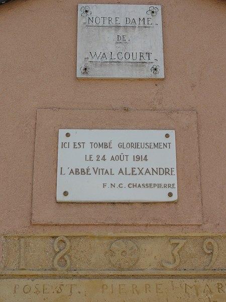 Tellancourt (Meurthe-et-M.) chapelle N.D. de Walcourt, plaque commémorative