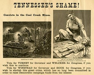 Coal Creek War - 1892 Republican Party campaign broadside attacking Democrats for establishing the convict-lease system