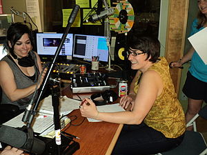 Community radio - KRBX Radio Boise volunteers during the station's Spring Radiothon in 2013—direct community support is critical for such local media.