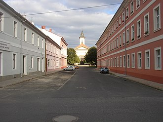 Terezín - View to Resurrection church from Havlicek Street