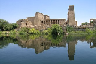 Philae - The temple of Isis from Philae at its current location on Agilkia Island in Lake Nasser
