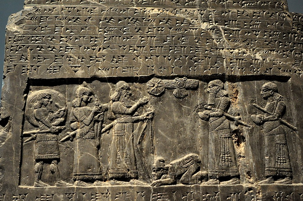file the assyrian king shalmaneser iii receives tribute from sua  king of gilzanu  the black
