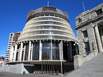 Government of New Zealand - The Beehive, Wellington, is the seat of government (the executive branch)