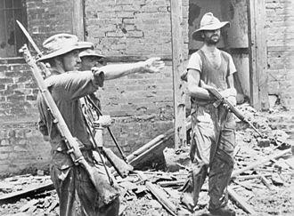 Mike Calvert - Calvert (left) giving orders during the capture of Mogaung in June 1944.